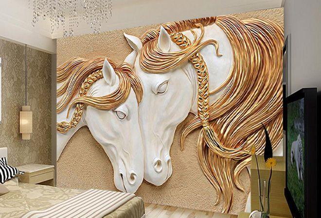 3д обои рисованые лошади