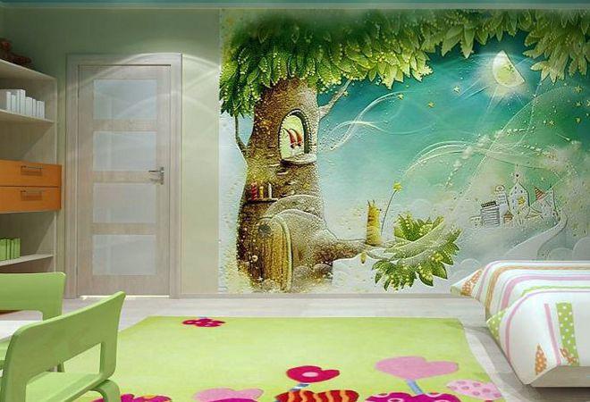 детские 3д обои для стен рисунки