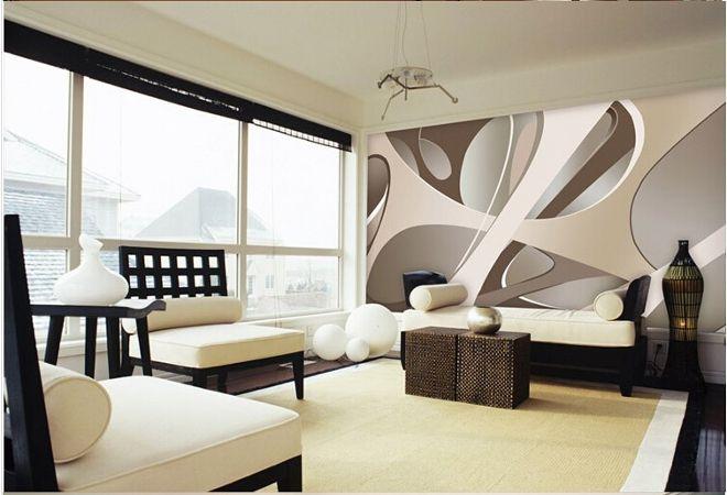 3д обои абстракция в гостиную