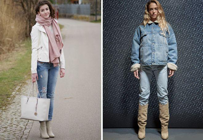 короткая куртка с джинсами