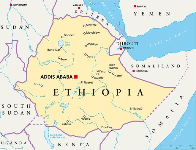 Аддис-Абеба на карте Эфиопии