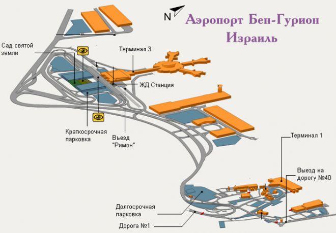 Схема аэропорта Бен-Гурион