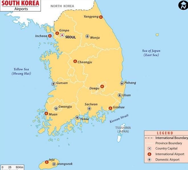 Аэропорты Южной Кореи на карте