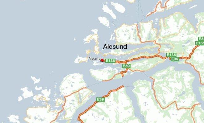 Олесунн на карте Норвегии