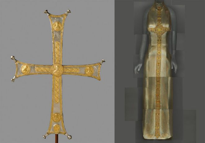 Византийский процессуальный крест и платье Gianni Versace