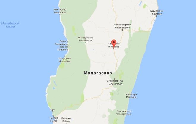 Анцирабе на карте Мадагаскара