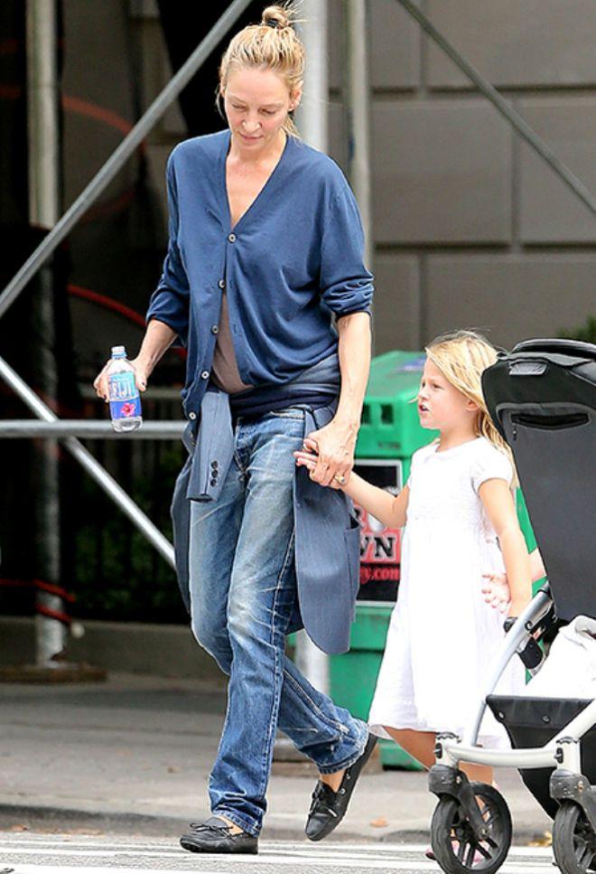 Ума Турман с дочерью Луной