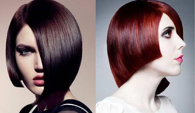 асимметричная стрижка на средние волосы