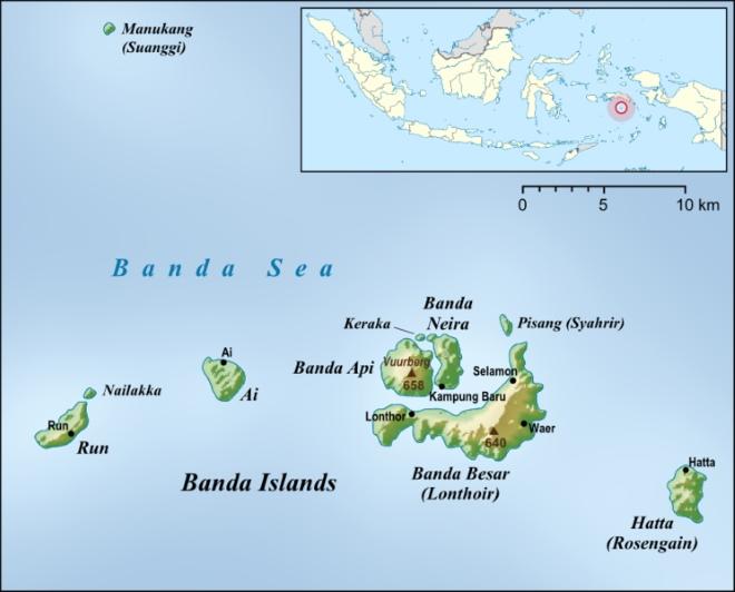 Острова Банда на карте