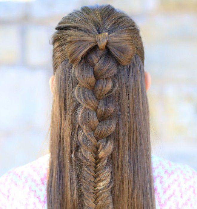 прическа бантик с распущенными волосами третий