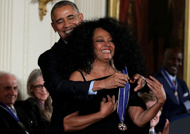 Барак Обама и Дайана Росс