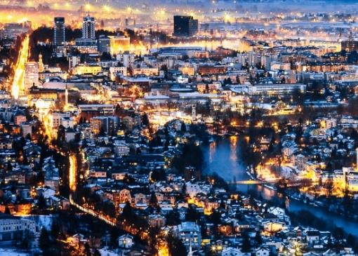 Ночной Баня-Лука - зимой