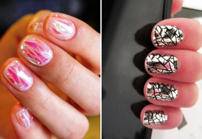 маникюр битое стекло на короткие ногти