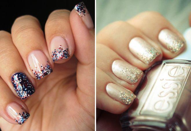 маникюр с блестками на короткие ногти