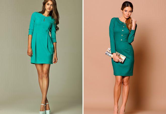 красивое короткое платье с длинным рукавом