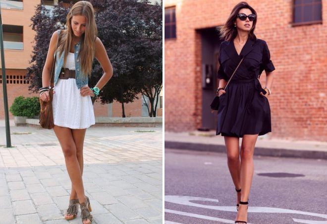 модные луки с коротким платьем