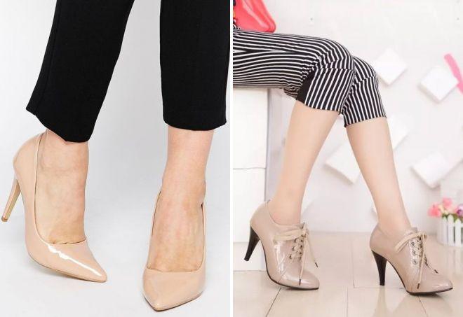 бежевые лаковые туфли
