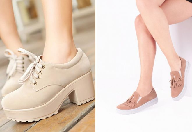 бежевые туфли на платформе