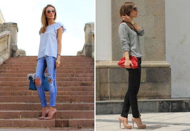 джинсы с бежевыми туфлями