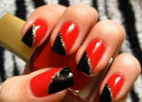 czarny czerwony manicure2