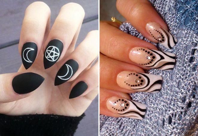 черно белый маникюр на длинные ногти