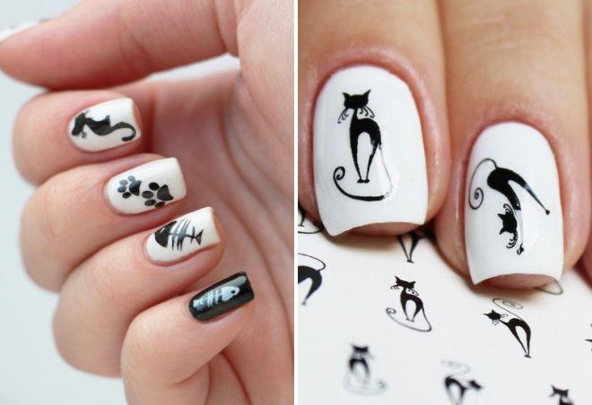 черно белый маникюр с кошками