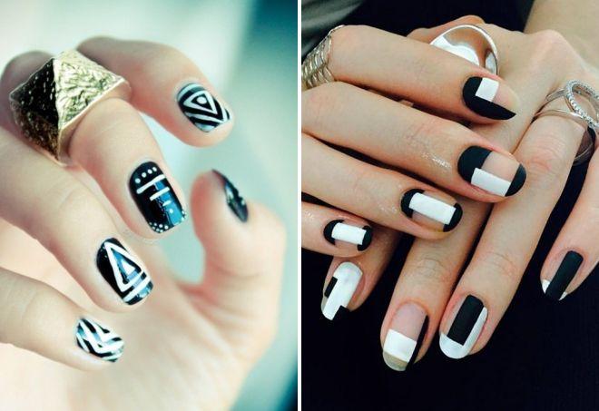 геометрический черно белый маникюр