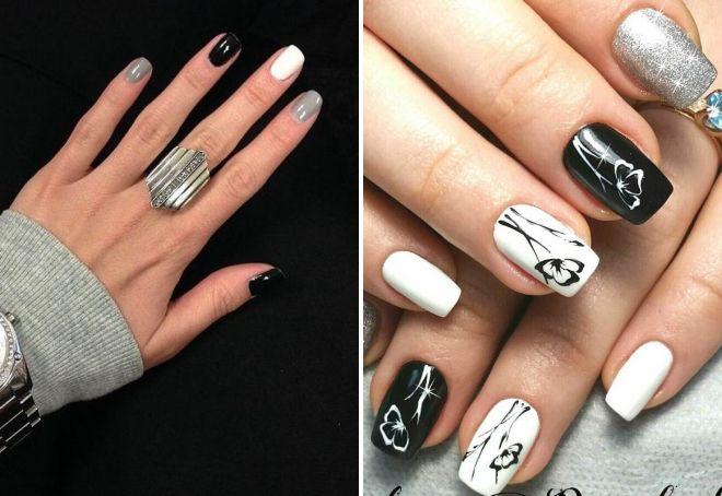 маникюр с черным и белым лаком
