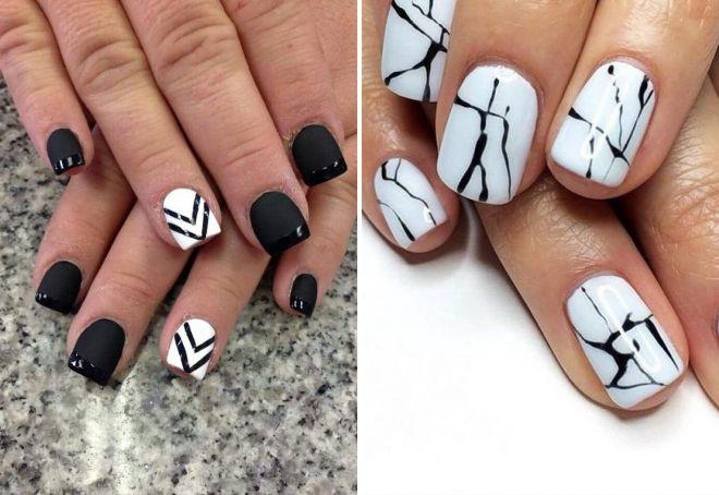 черно белый маникюр на короткие ногти