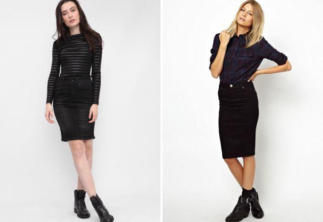 черная джинсовая юбка с чем носить