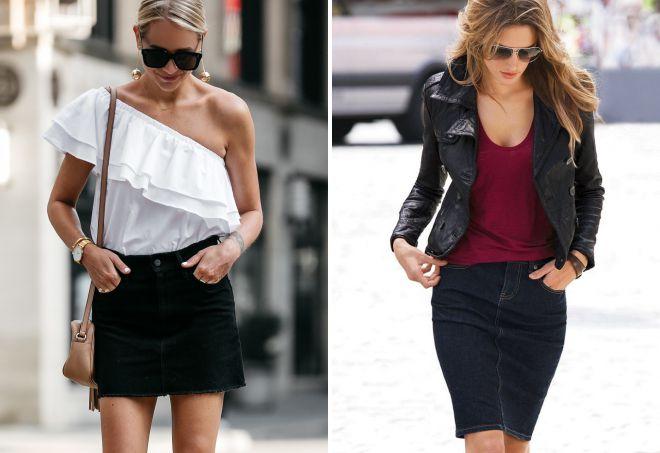 короткая черная джинсовая юбка