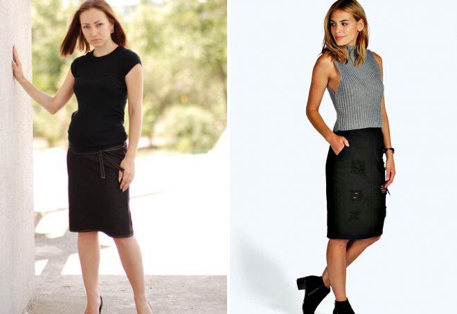 черная джинсовая юбка миди