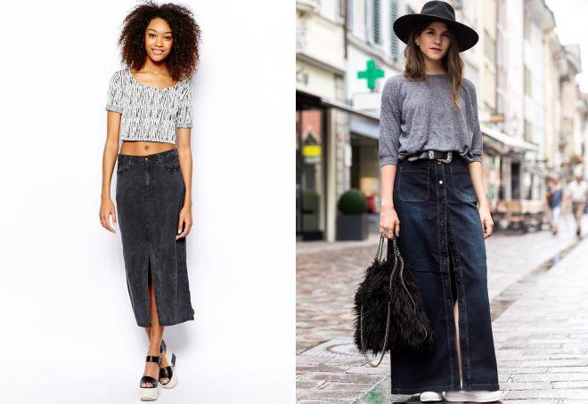 длинная черная джинсовая юбка