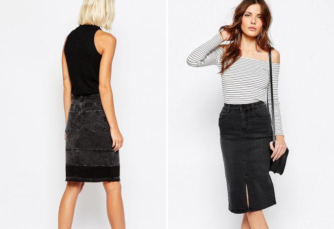 черная джинсовая юбка карандаш