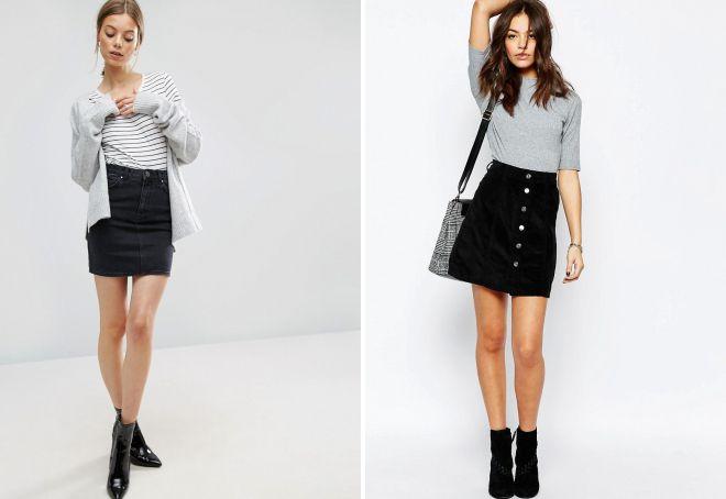 черная джинсовая юбка с завышенной талией
