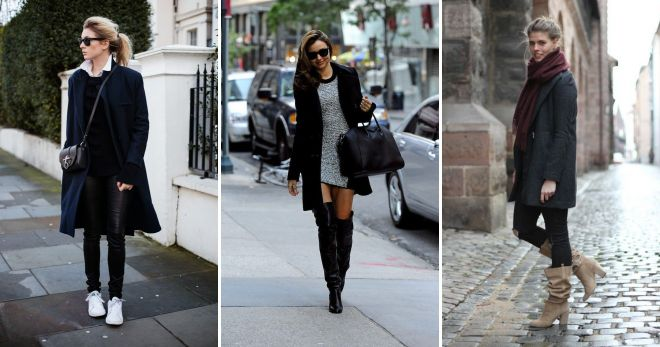 обувь к черному пальто