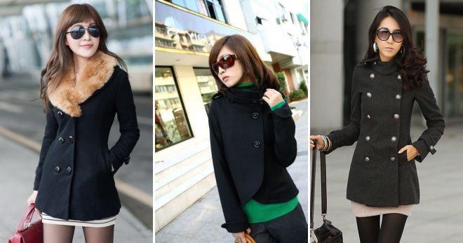 короткое черное пальто