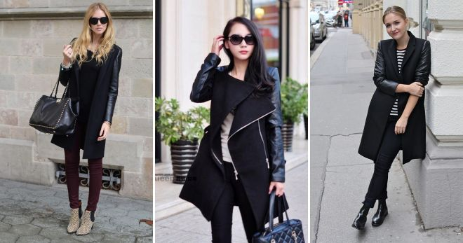 черное пальто с кожаными рукавами