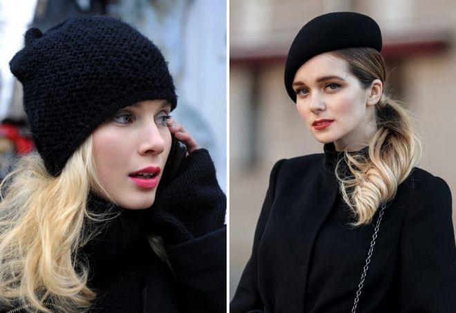 черная шапка для блондинок