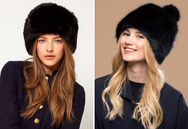 черная меховая шапка
