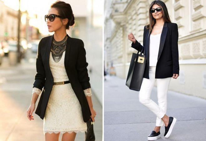 с чем носить черный женский пиджак