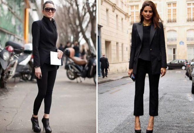 с чем носить черный пиджак женщинам
