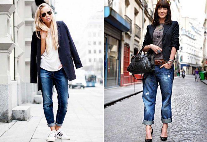черный пиджак с джинсами