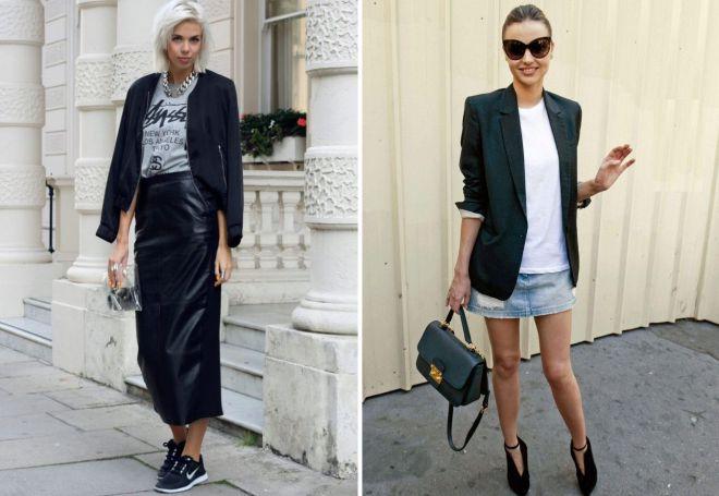 черный пиджак и юбка