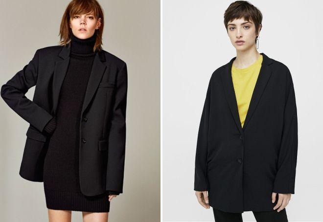 черный пиджак оверсайз
