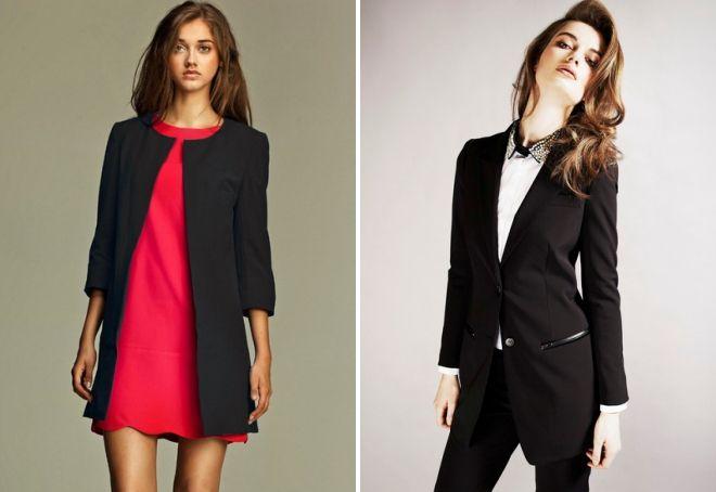 черный удлиненный пиджак