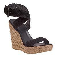 Czarne sandały na klinie 1