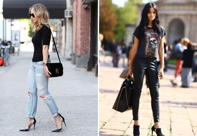 голубые джинсы и черная футболка