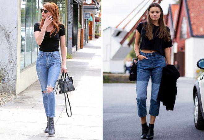 джинсы и черная футболка