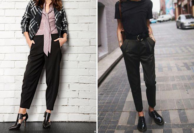 лук с черными брюками
